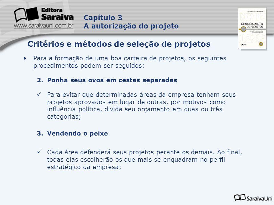 Capa da Obra Capítulo 3 A autorização do projeto Para a formação de uma boa carteira de projetos, os seguintes procedimentos podem ser seguidos: 2.Pon