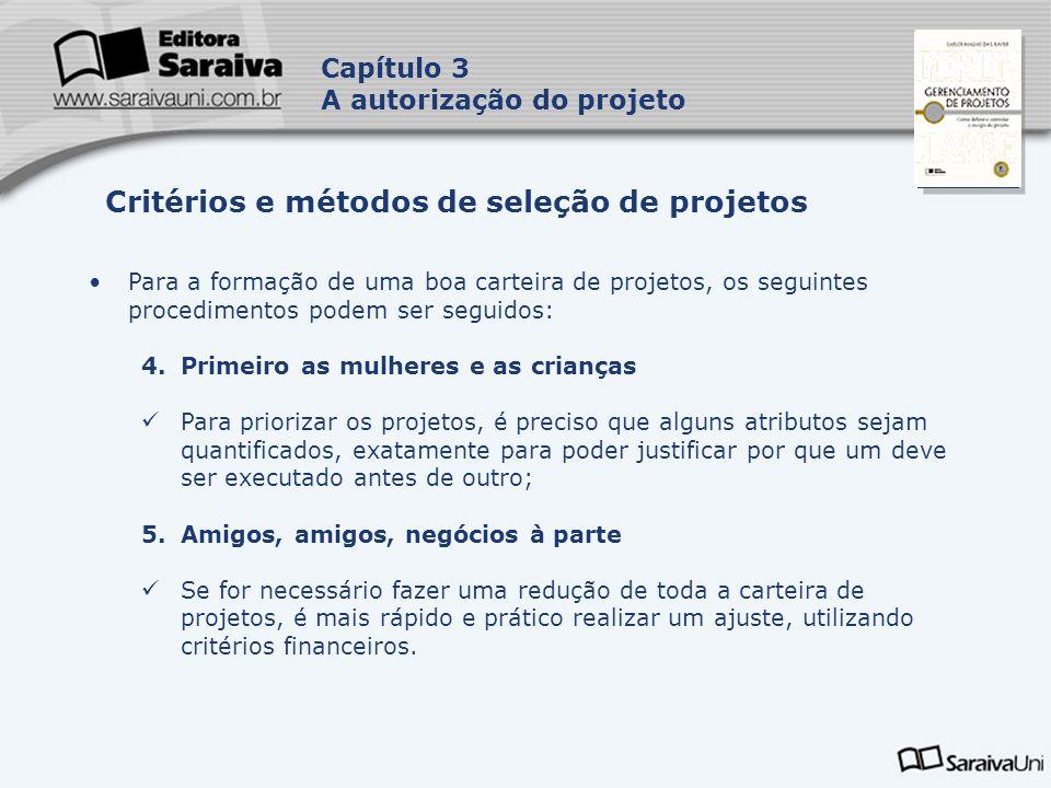 Capa da Obra Capítulo 3 A autorização do projeto Para a formação de uma boa carteira de projetos, os seguintes procedimentos podem ser seguidos: 4.Pri