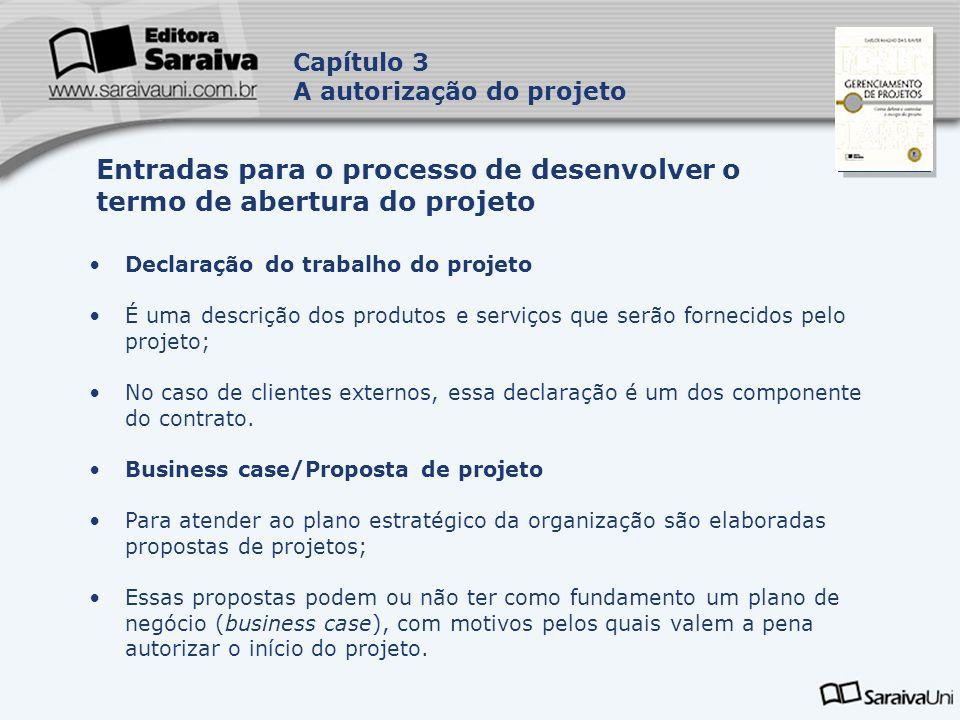 Capa da Obra Capítulo 3 A autorização do projeto Declaração do trabalho do projeto É uma descrição dos produtos e serviços que serão fornecidos pelo p