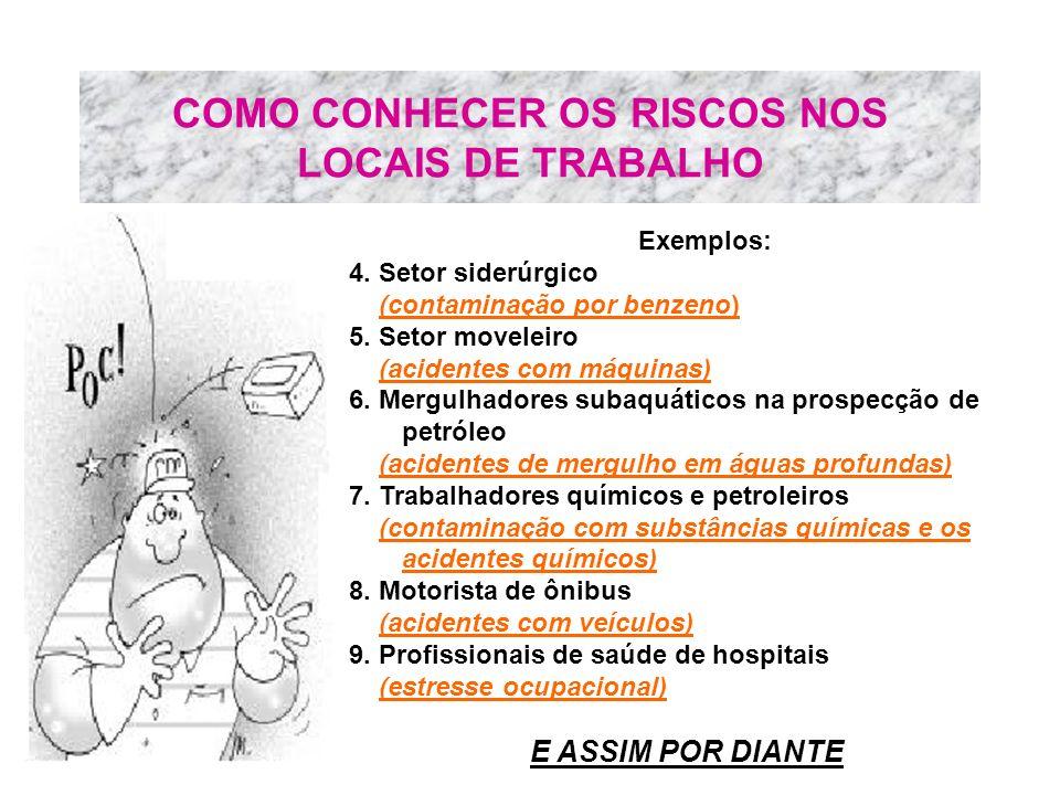 COMO CONHECER OS RISCOS NOS LOCAIS DE TRABALHO Exemplos: 4. Setor siderúrgico (contaminação por benzeno) 5. Setor moveleiro (acidentes com máquinas) 6