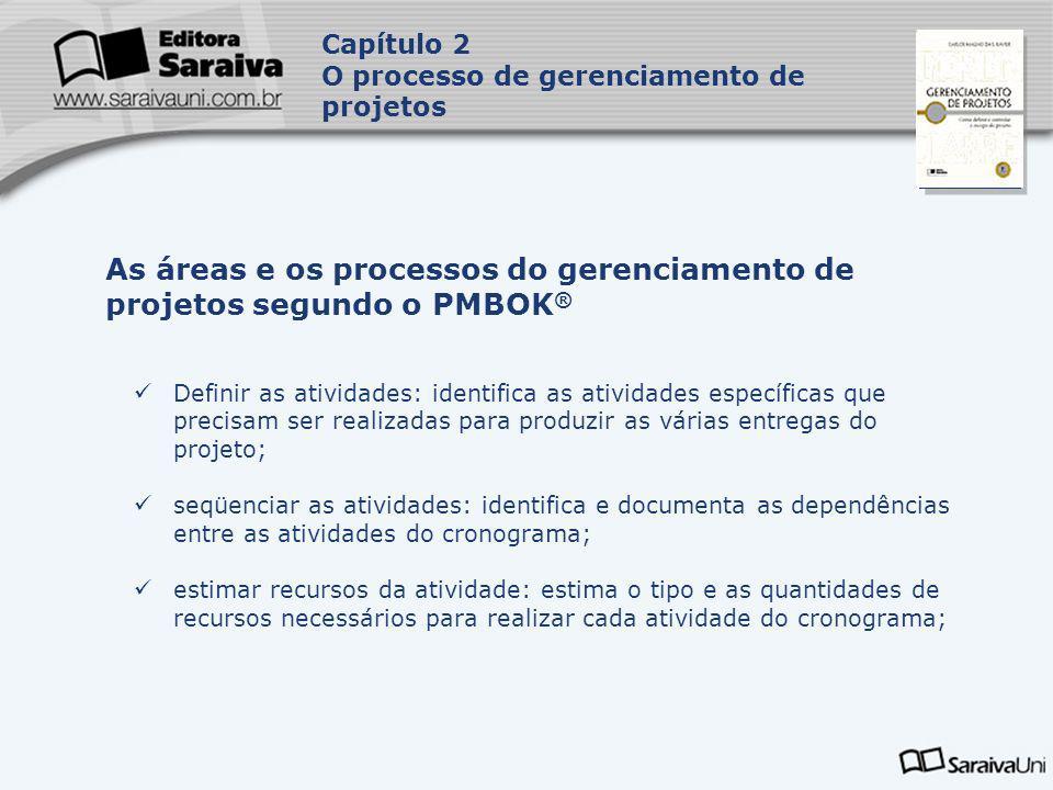 Capa da Obra Definir as atividades: identifica as atividades específicas que precisam ser realizadas para produzir as várias entregas do projeto; seqü