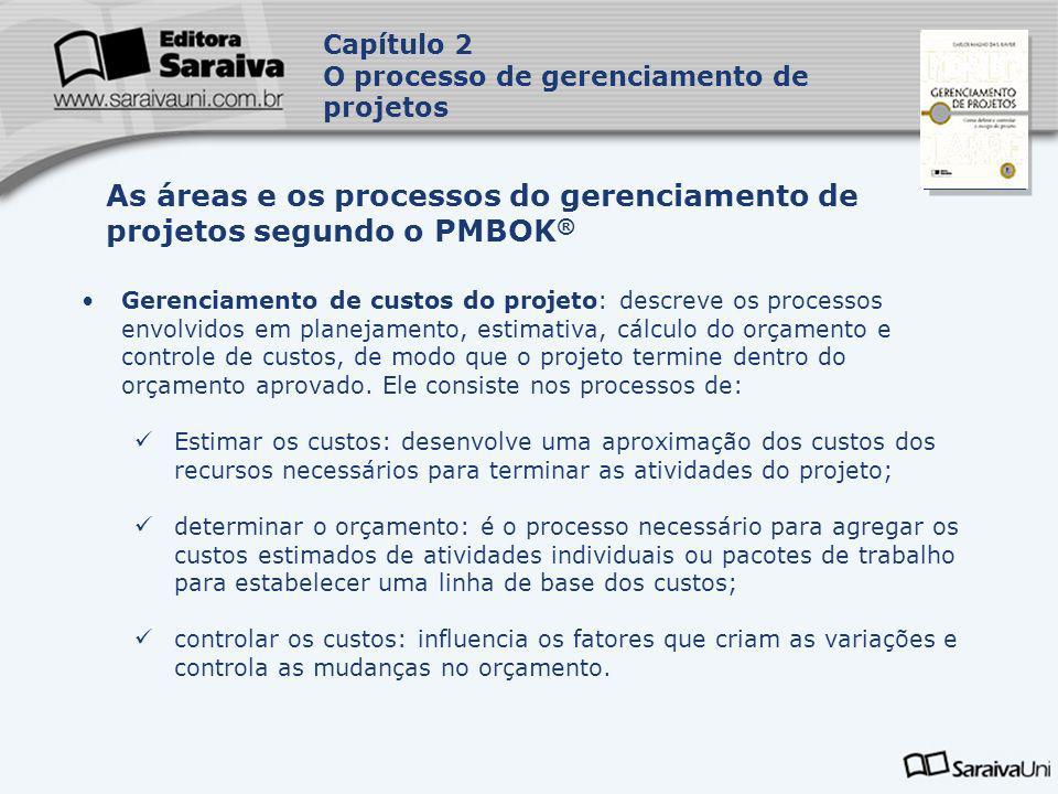 Capa da Obra Gerenciamento de custos do projeto: descreve os processos envolvidos em planejamento, estimativa, cálculo do orçamento e controle de cust