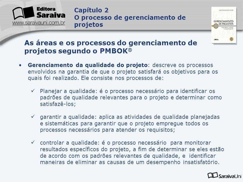 Capa da Obra Gerenciamento da qualidade do projeto: descreve os processos envolvidos na garantia de que o projeto satisfará os objetivos para os quais