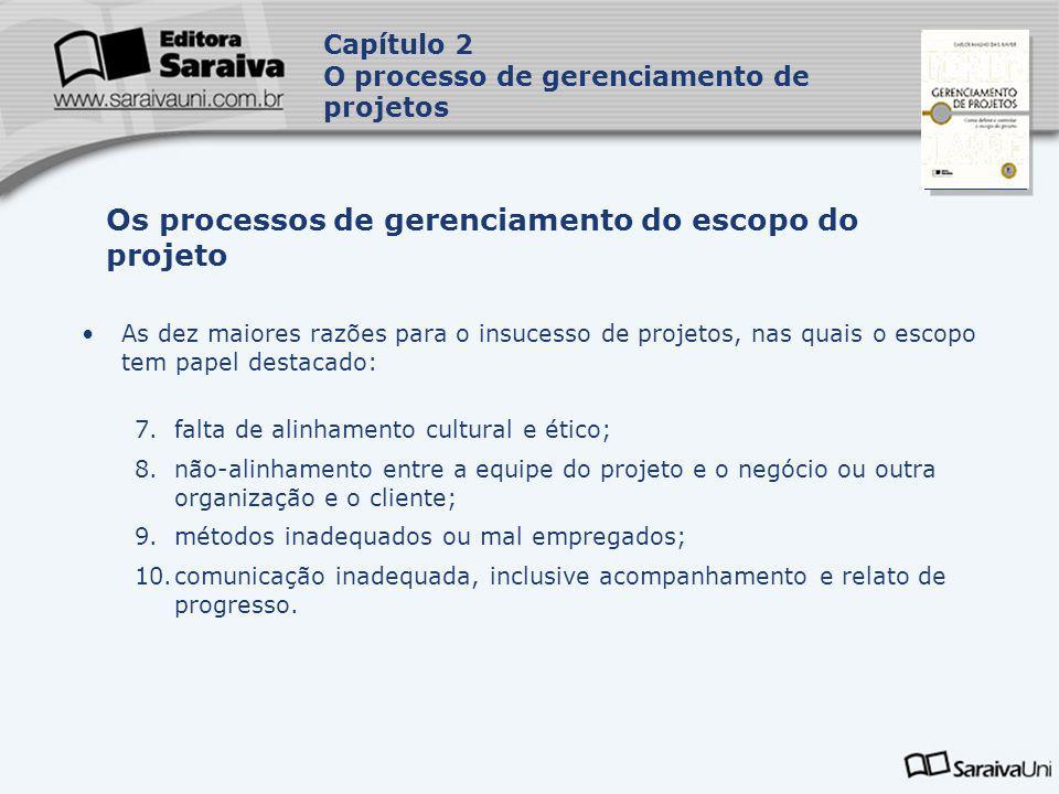 Capa da Obra As dez maiores razões para o insucesso de projetos, nas quais o escopo tem papel destacado: 7.falta de alinhamento cultural e ético; 8.nã