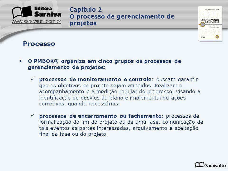 Capa da Obra O PMBOK® organiza em cinco grupos os processos de gerenciamento de projetos: processos de monitoramento e controle: buscam garantir que o