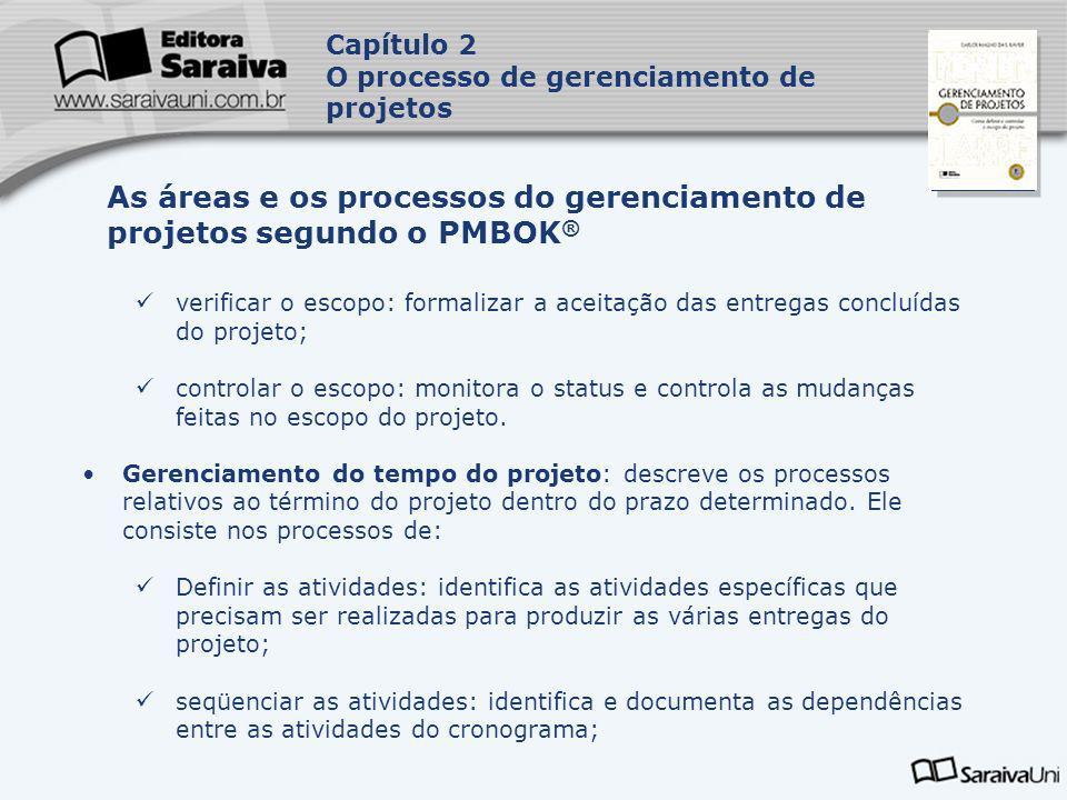 Capa da Obra verificar o escopo: formalizar a aceitação das entregas concluídas do projeto; controlar o escopo: monitora o status e controla as mudanç