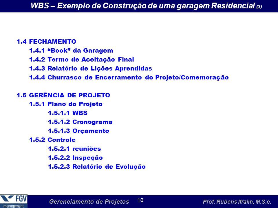 Gerenciamento de Projetos Prof. Rubens Ifraim, M.S.c. 10 WBS – Exemplo de Construção de uma garagem Residencial (3) 1.4 FECHAMENTO 1.4.1 Book da Garag