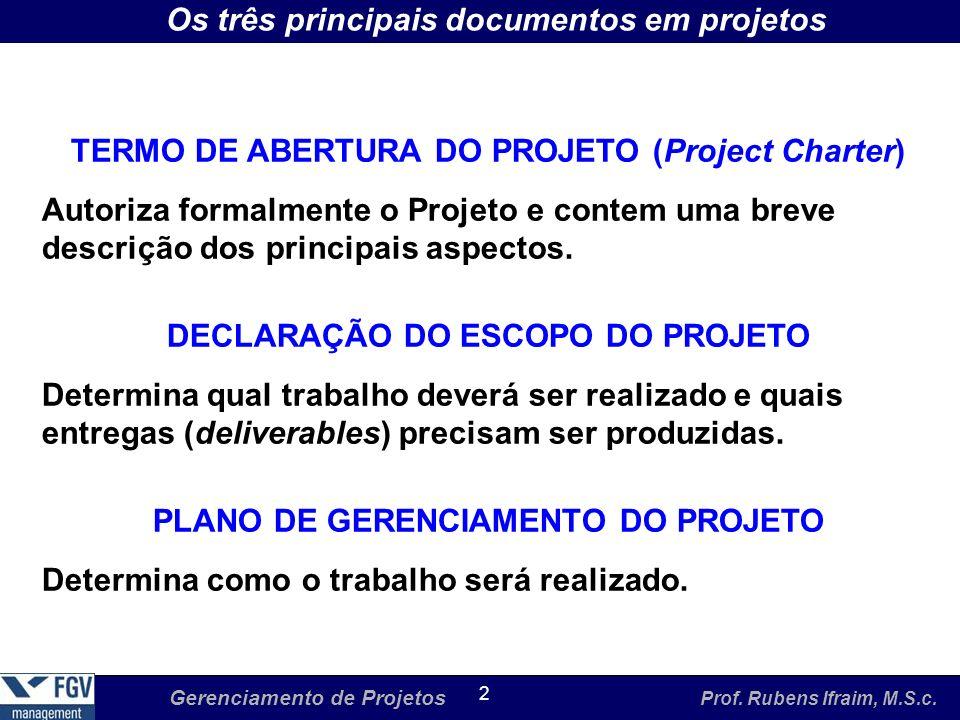 Gerenciamento de Projetos Prof. Rubens Ifraim, M.S.c. 2 Os três principais documentos em projetos TERMO DE ABERTURA DO PROJETO (Project Charter) Autor