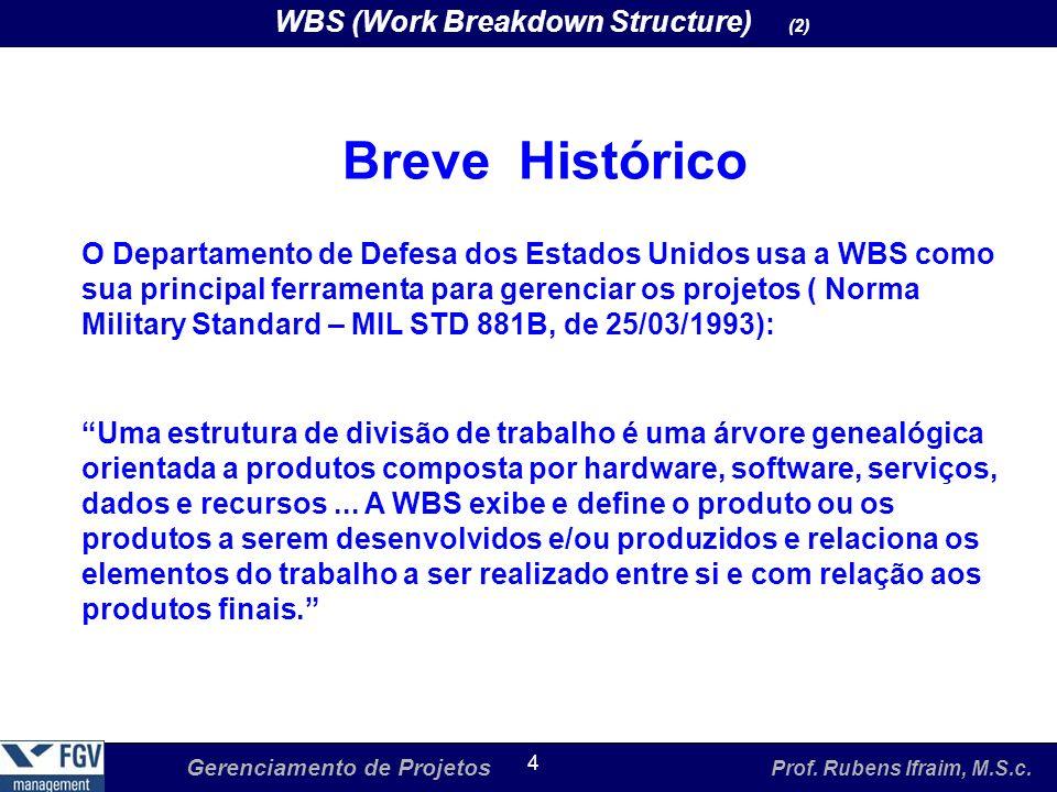 Gerenciamento de Projetos Prof. Rubens Ifraim, M.S.c. 4 WBS (Work Breakdown Structure) (2) Breve Histórico O Departamento de Defesa dos Estados Unidos