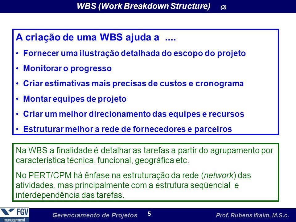 Gerenciamento de Projetos Prof. Rubens Ifraim, M.S.c. 5 WBS (Work Breakdown Structure) (3) A criação de uma WBS ajuda a.... Fornecer uma ilustração de