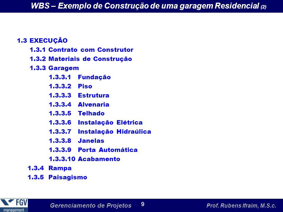 Gerenciamento de Projetos Prof. Rubens Ifraim, M.S.c. 9 WBS – Exemplo de Construção de uma garagem Residencial (2) 1.3 EXECUÇÃO 1.3.1 Contrato com Con