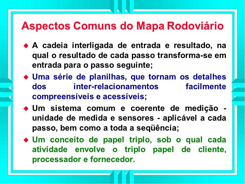 Aspectos Comuns do Mapa Rodoviário A cadeia interligada de entrada e resultado, na qual o resultado de cada passo transforma-se em entrada para o passo seguinte; Uma série de planilhas, que tornam os detalhes dos inter-relacionamentos facilmente compreensíveis e acessíveis; Um sistema comum e coerente de medição - unidade de medida e sensores - aplicável a cada passo, bem como a toda a seqüência; Um conceito de papel triplo, sob o qual cada atividade envolve o triplo papel de cliente, processador e fornecedor.