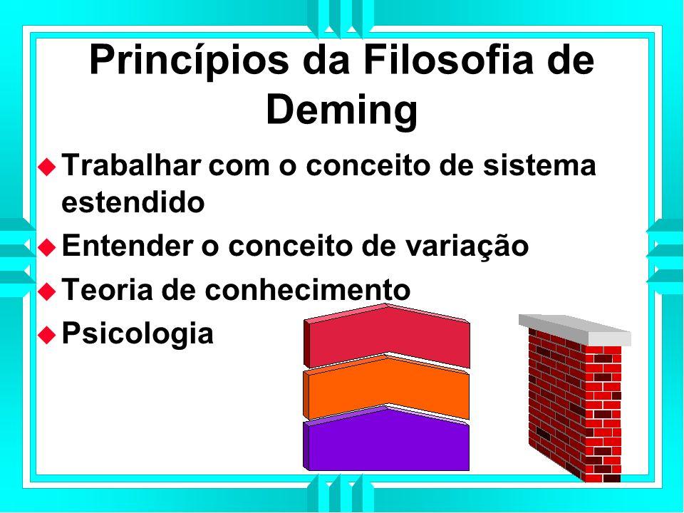 Princípios da Filosofia de Deming Trabalhar com o conceito de sistema estendido Entender o conceito de variação Teoria de conhecimento Psicologia