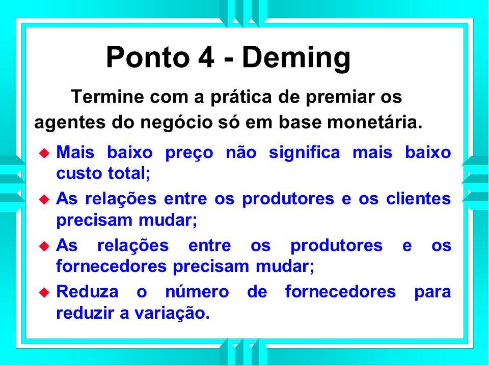 Ponto 4 - Deming Termine com a prática de premiar os agentes do negócio só em base monetária.