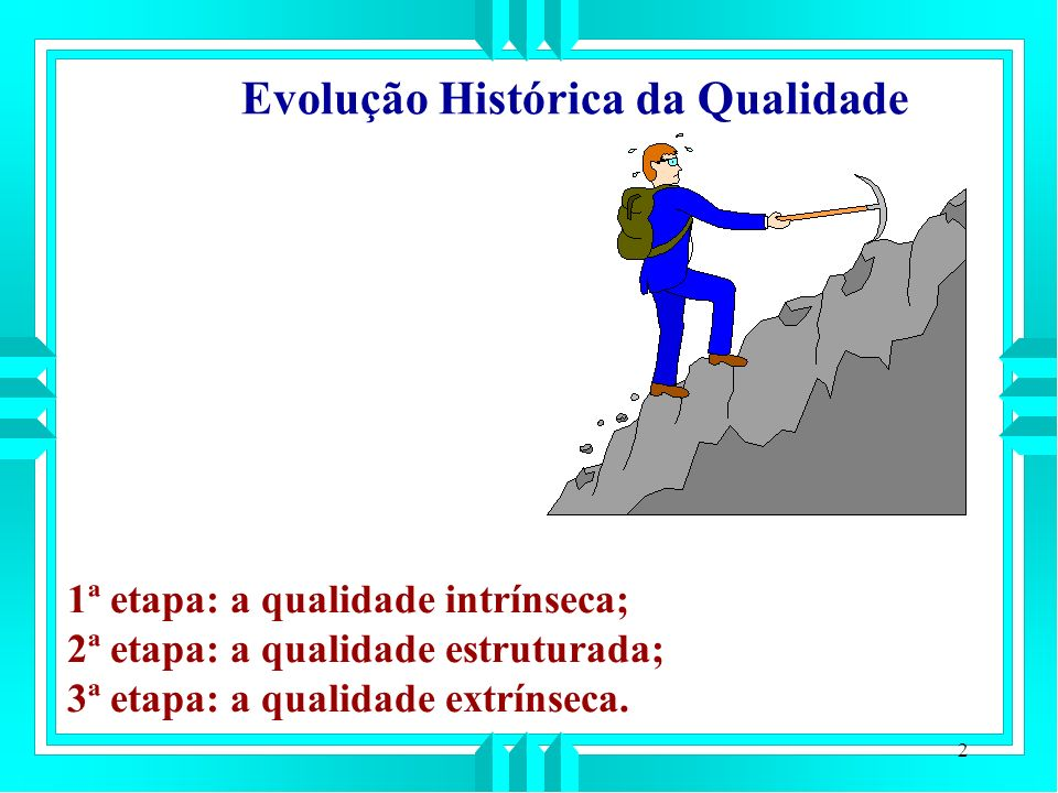 2 Evolução Histórica da Qualidade 1ª etapa: a qualidade intrínseca; 2ª etapa: a qualidade estruturada; 3ª etapa: a qualidade extrínseca.