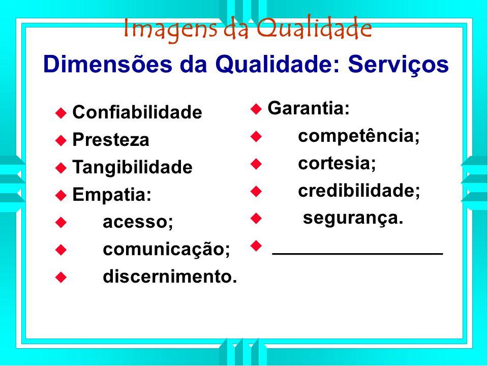 Dimensões da Qualidade: Serviços Confiabilidade Presteza Tangibilidade Empatia: acesso; comunicação; discernimento.