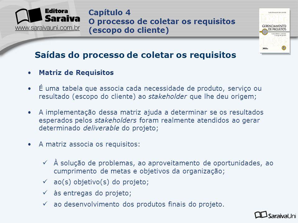 Capa da Obra Capítulo 4 O processo de coletar os requisitos (escopo do cliente) Matriz de Requisitos A matriz pode assumir atributos associados a cada requisito que irão ajudar no controle, tais como: um identificador único; uma descrição específica a determinado grupo de requisitos; a razão para a inclusão do requisito na lista; o dono (stakeholder solicitante); a prioridade; a versão; o status atual (ativo, cancelado, deferido, aprovado etc.); data de conclusão do requisito.