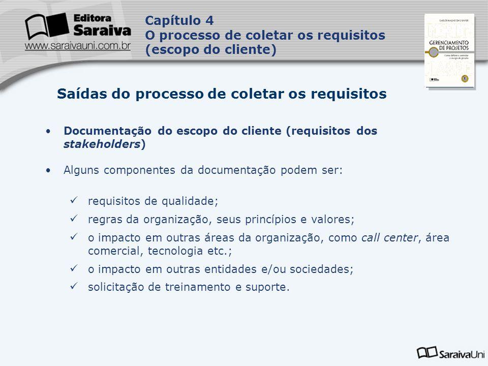 Capa da Obra Capítulo 4 O processo de coletar os requisitos (escopo do cliente) Documentação do escopo do cliente (requisitos dos stakeholders) Alguns