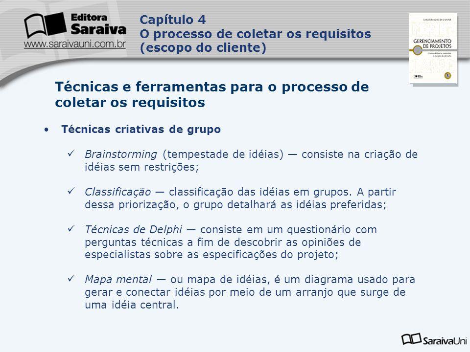 Capa da Obra Capítulo 4 O processo de coletar os requisitos (escopo do cliente) Técnicas de tomada de decisões em grupo É um processo de avaliação das alternativas capazes de atingir o objetivo desejado do projeto.