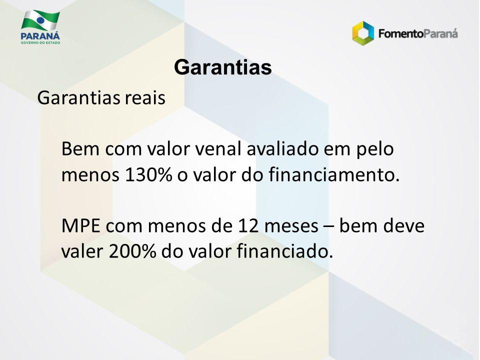 Garantias Garantias reais Bem com valor venal avaliado em pelo menos 130% o valor do financiamento. MPE com menos de 12 meses – bem deve valer 200% do