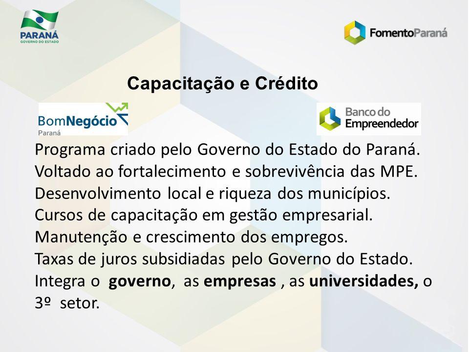 Capacitação e Crédito Programa criado pelo Governo do Estado do Paraná. Voltado ao fortalecimento e sobrevivência das MPE. Desenvolvimento local e riq