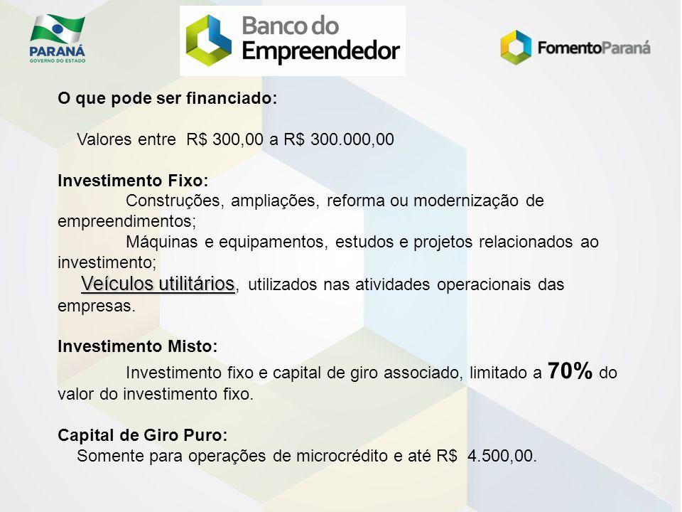 O que pode ser financiado: Valores entre R$ 300,00 a R$ 300.000,00 Investimento Fixo: Construções, ampliações, reforma ou modernização de empreendimen