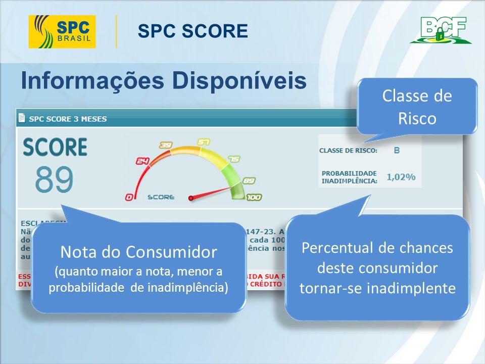 SPC SCORE É possível personalizar esta área, incluindo uma mensagem junto ao percentual de inadimplência Informações Disponíveis