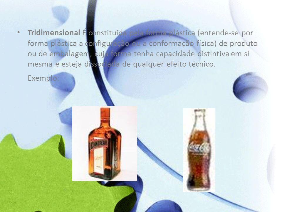 Tridimensional É constituída pela forma plástica (entende-se por forma plástica a configuração ou a conformação física) de produto ou de embalagem, cu