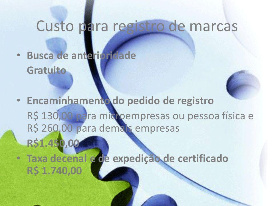 Custo para registro de marcas Busca de anterioridade Gratuito Encaminhamento do pedido de registro R$ 130,00 para microempresas ou pessoa física e R$