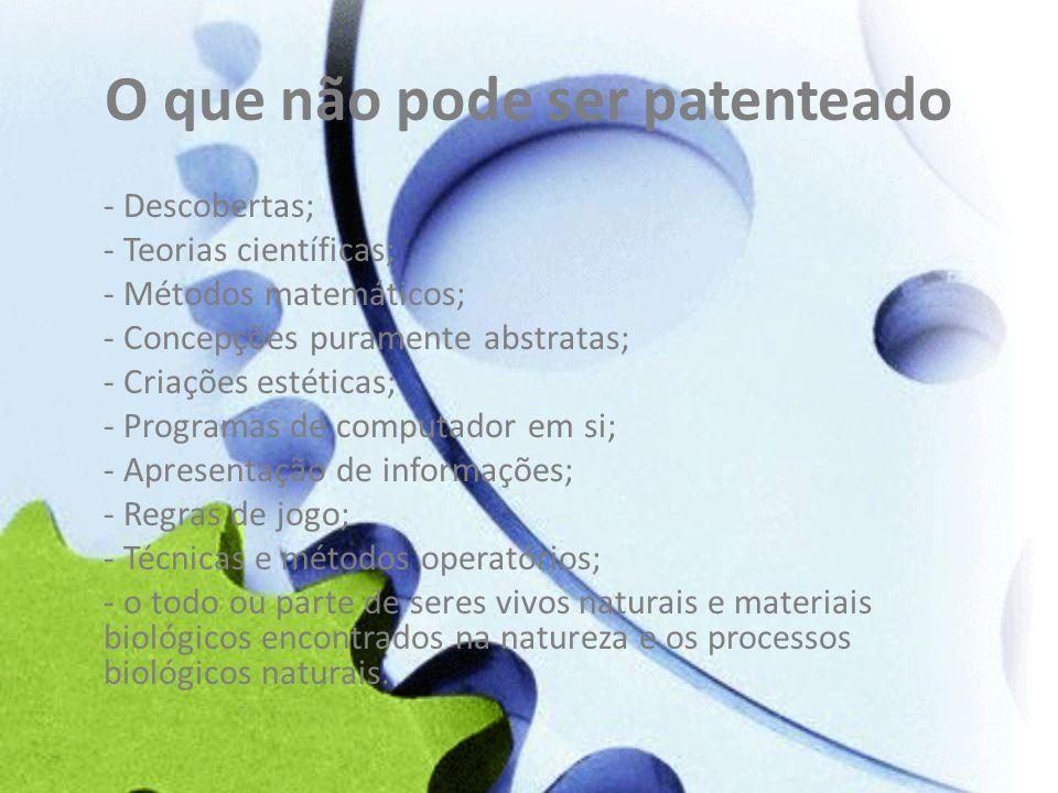 O que não pode ser patenteado - Descobertas; - Teorias científicas; - Métodos matemáticos; - Concepções puramente abstratas; - Criações estéticas; - P