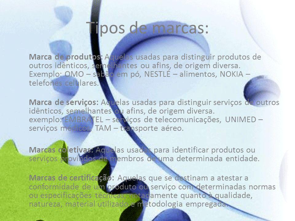 Tipos de marcas: Marca de produtos: Aquelas usadas para distinguir produtos de outros idênticos, semelhantes ou afins, de origem diversa. Exemplo: OMO
