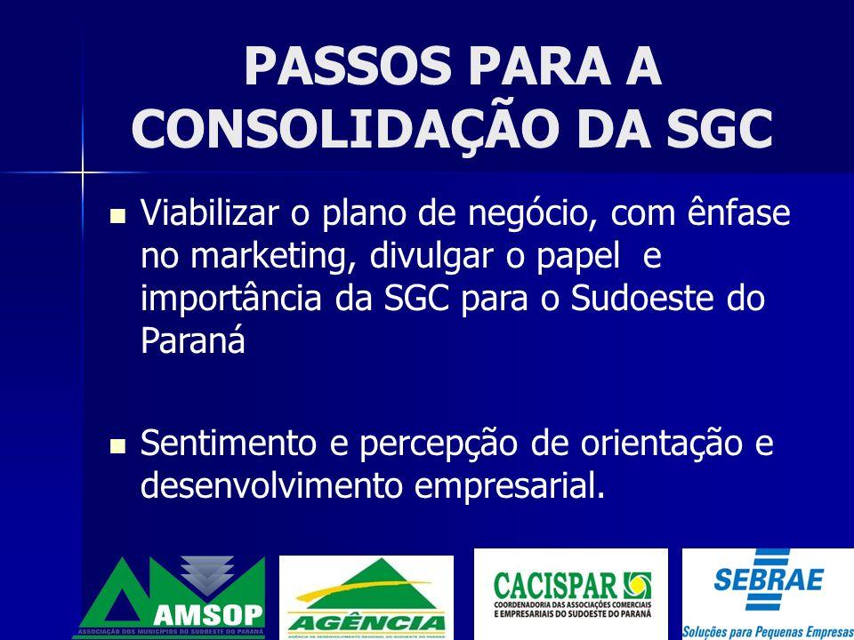 A CACISPAR COMO INDUTORA NO PROCESSO DE CONSTITUIÇÃO E CONSOLIDAÇÃO DA SGC Fazer parte do grupo gestor.