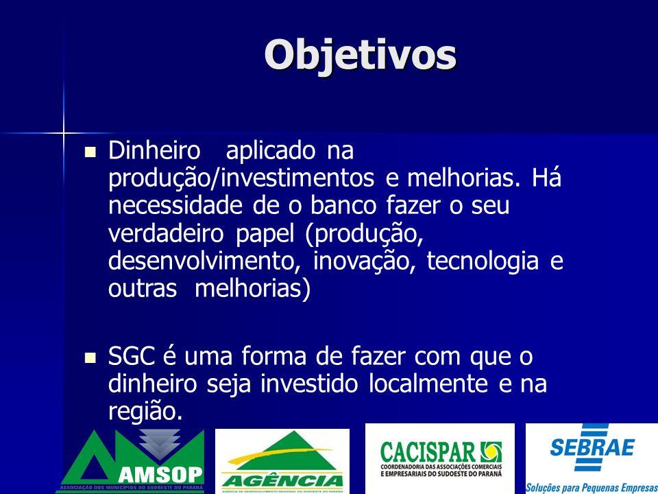 Objetivos Desenvolver o associativismo e cooperativismo Fomentar as parcerias Dinheiro concedido com apoio de consultorias, seja administrativa, finanças ou controles internos.