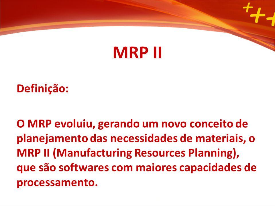 MRP Vantagens do sistema MRP: Instrumento de planejamento Simulação Custos Reduz a influência dos sistemas informais Exemplo