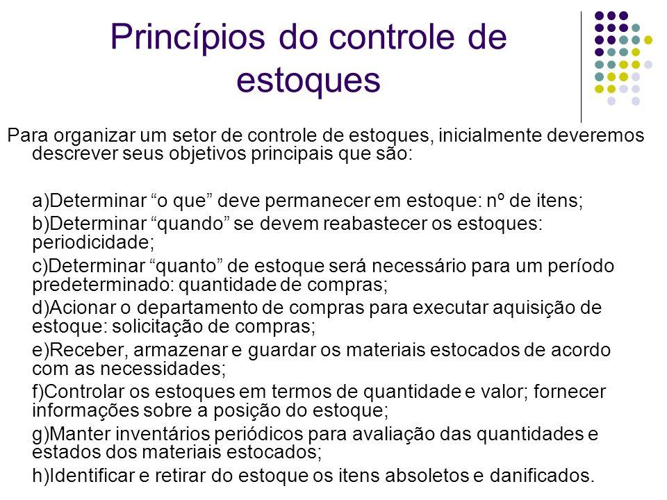 Princípios do controle de estoques Para organizar um setor de controle de estoques, inicialmente deveremos descrever seus objetivos principais que são