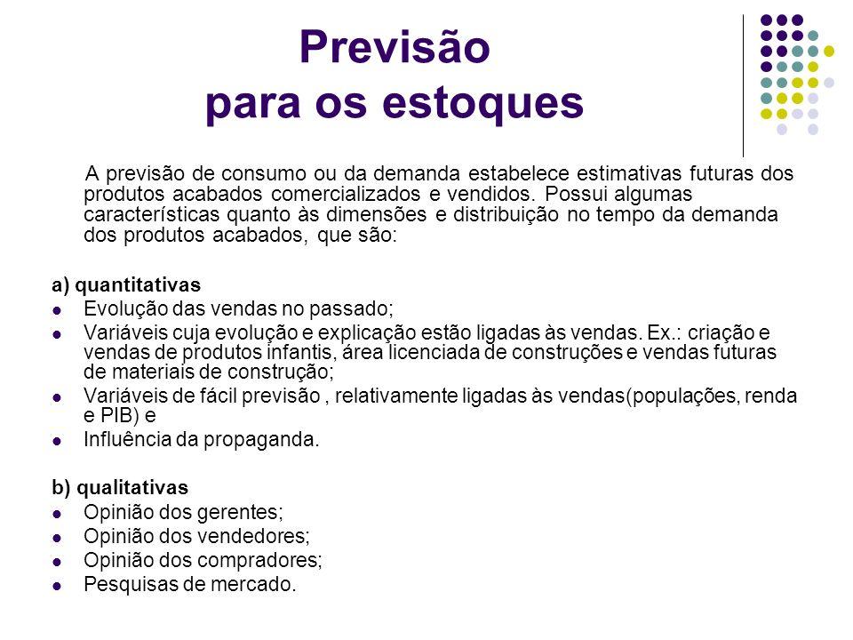 Previsão para os estoques A previsão de consumo ou da demanda estabelece estimativas futuras dos produtos acabados comercializados e vendidos. Possui