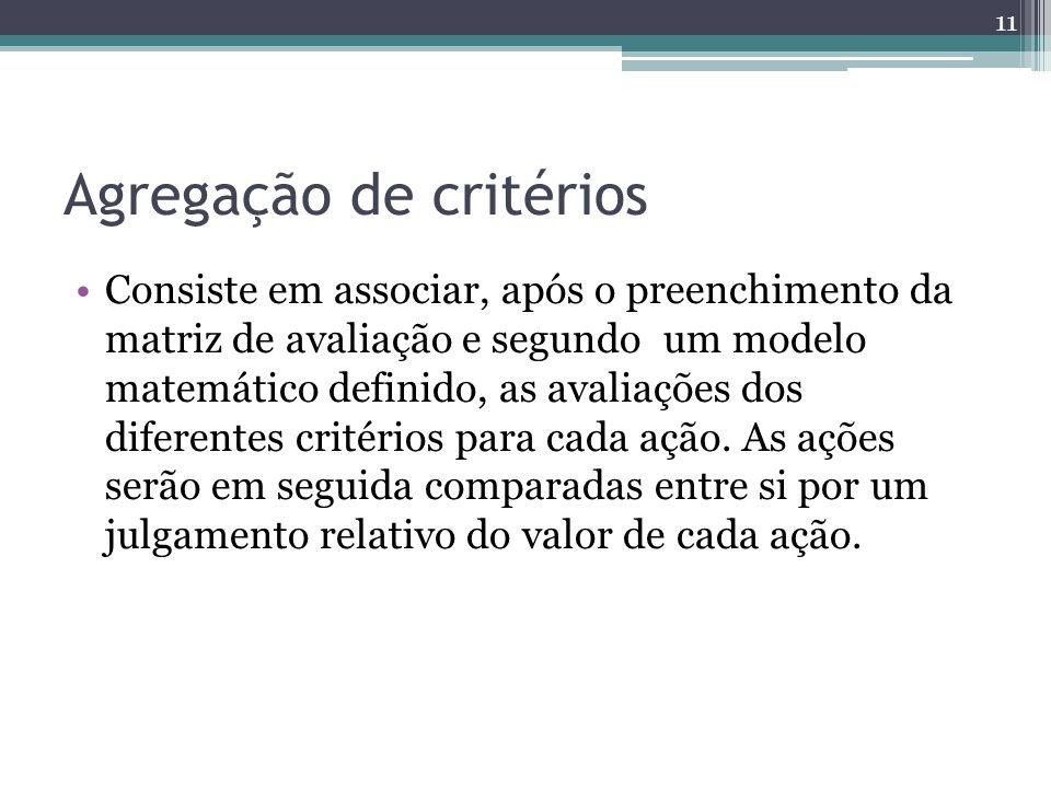 Agregação de critérios Consiste em associar, após o preenchimento da matriz de avaliação e segundo um modelo matemático definido, as avaliações dos di