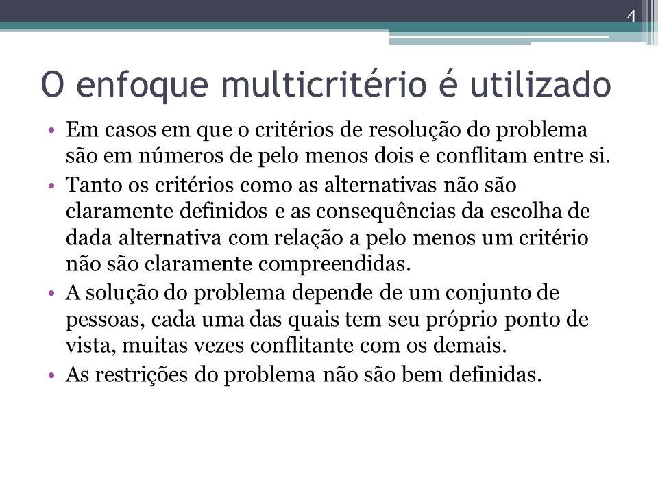 O enfoque multicritério é utilizado Em casos em que o critérios de resolução do problema são em números de pelo menos dois e conflitam entre si. Tanto
