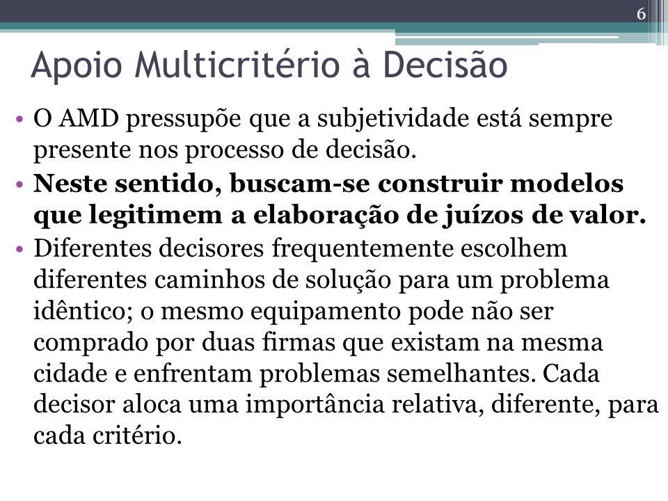 Apoio Multicritério à Decisão O AMD pressupõe que a subjetividade está sempre presente nos processo de decisão. Neste sentido, buscam-se construir mod