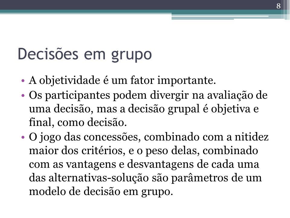 Decisões em grupo A objetividade é um fator importante. Os participantes podem divergir na avaliação de uma decisão, mas a decisão grupal é objetiva e