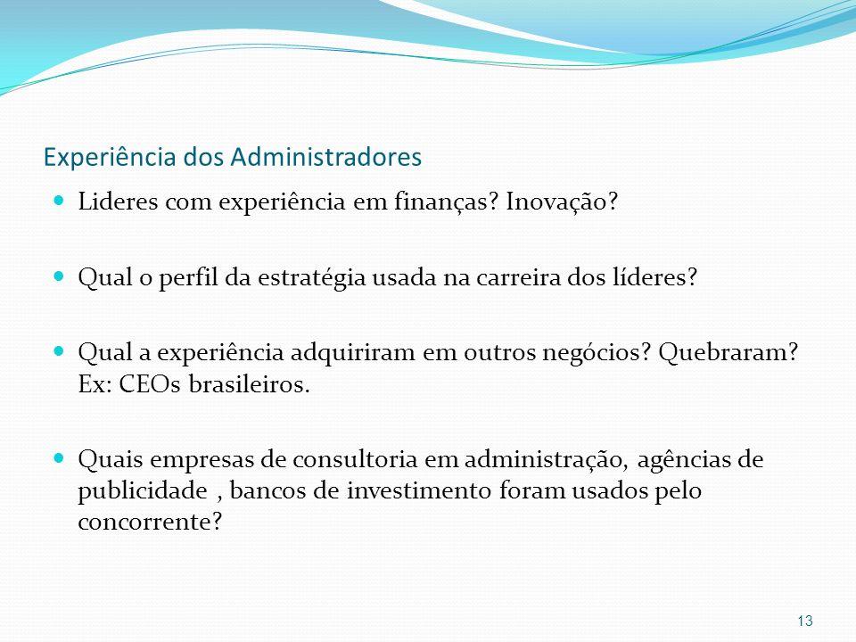 Experiência dos Administradores Lideres com experiência em finanças? Inovação? Qual o perfil da estratégia usada na carreira dos líderes? Qual a exper