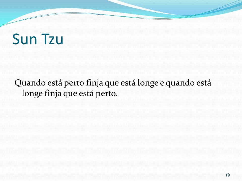 Sun Tzu Quando está perto finja que está longe e quando está longe finja que está perto. 19