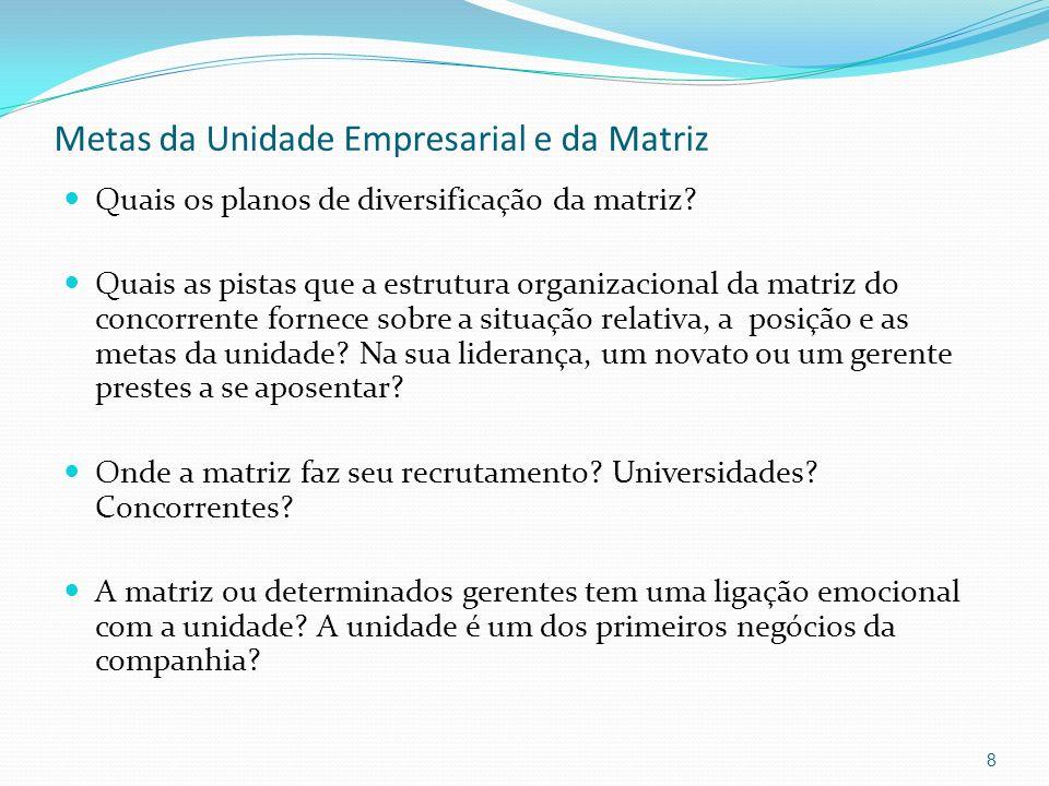 Metas da Unidade Empresarial e da Matriz Quais os planos de diversificação da matriz? Quais as pistas que a estrutura organizacional da matriz do conc
