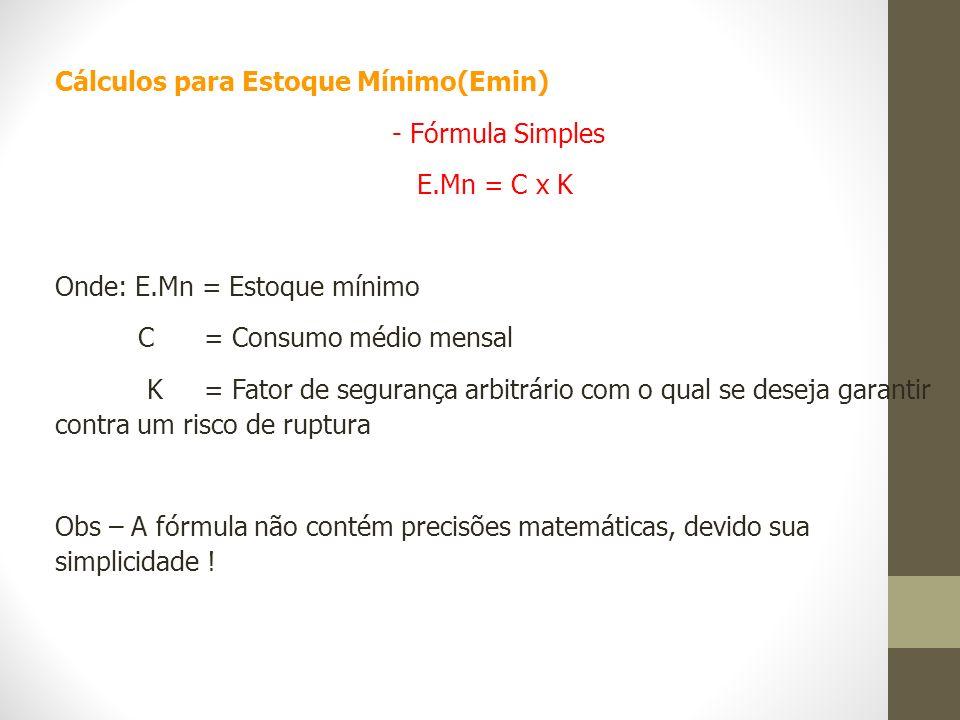 Cálculos para Estoque Mínimo(Emin) - Fórmula Simples E.Mn = C x K Onde: E.Mn = Estoque mínimo C = Consumo médio mensal K = Fator de segurança arbitrár