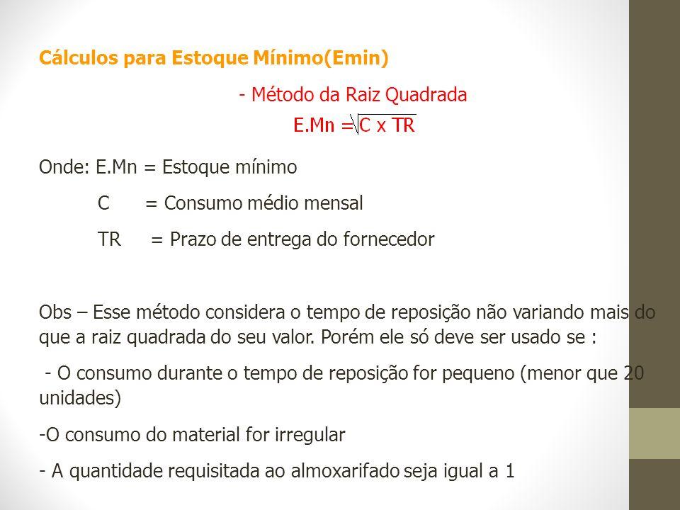 Cálculos para Estoque Mínimo(Emin) - Método da Raiz Quadrada Onde: E.Mn = Estoque mínimo C = Consumo médio mensal TR = Prazo de entrega do fornecedor