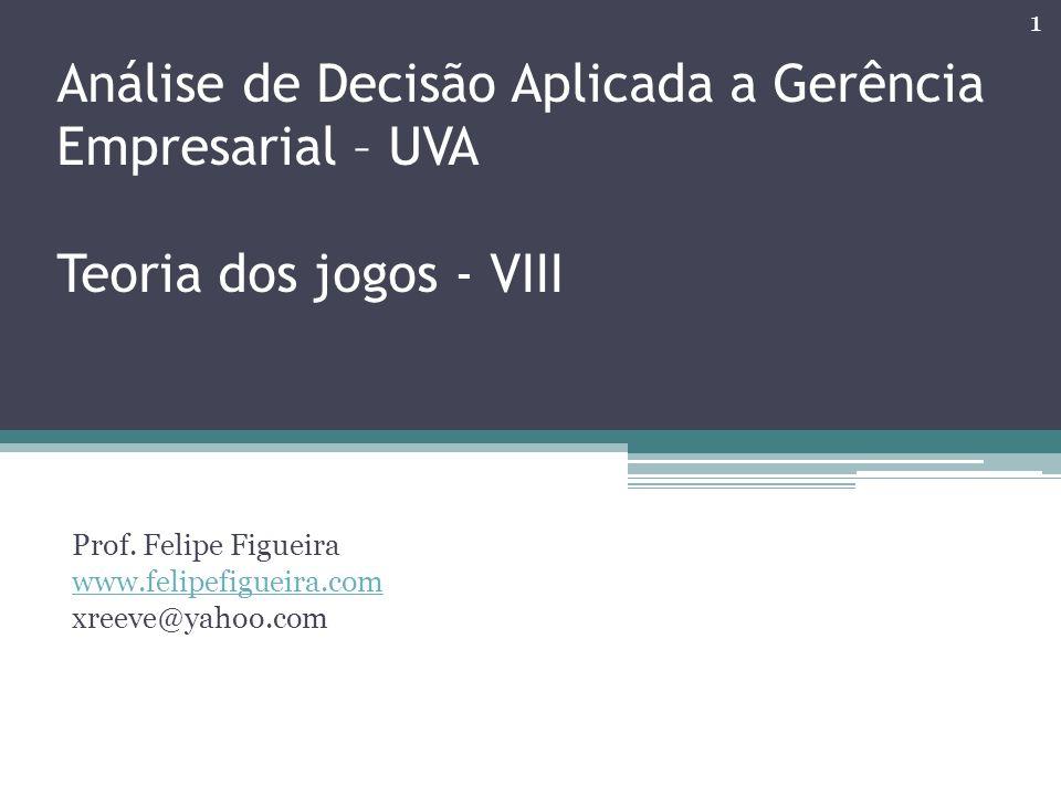 Análise de Decisão Aplicada a Gerência Empresarial – UVA Teoria dos jogos - VIII Prof. Felipe Figueira www.felipefigueira.com xreeve@yahoo.com 1