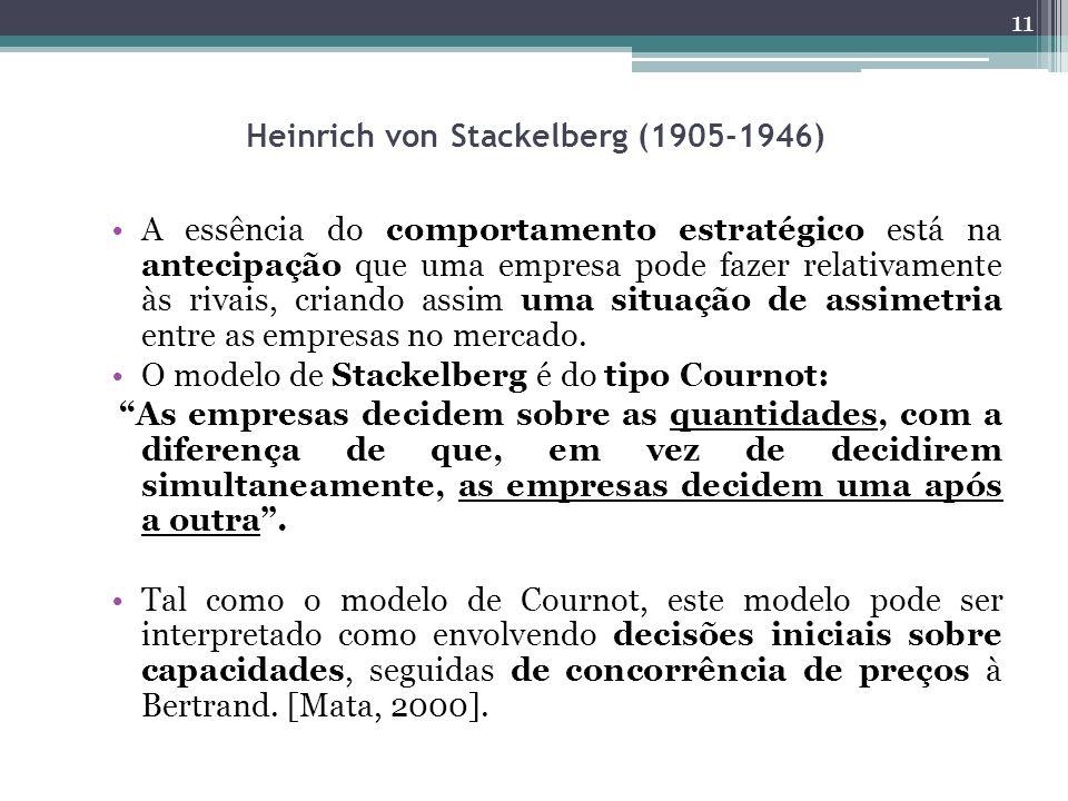 Heinrich von Stackelberg (1905-1946) A essência do comportamento estratégico está na antecipação que uma empresa pode fazer relativamente às rivais, criando assim uma situação de assimetria entre as empresas no mercado.