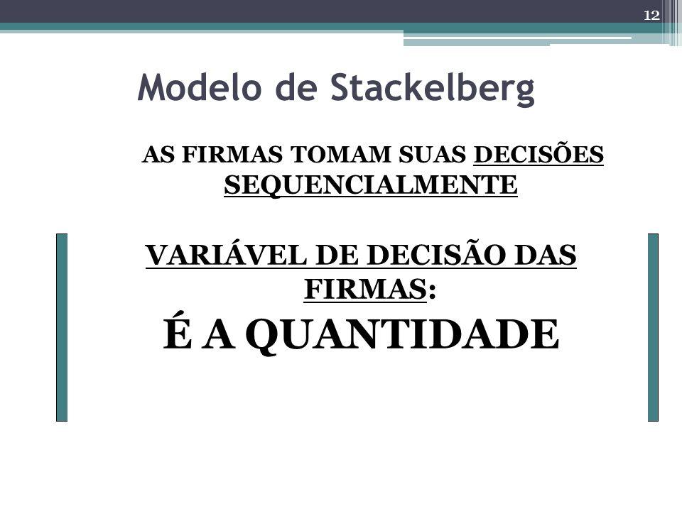 Modelo de Stackelberg AS FIRMAS TOMAM SUAS DECISÕES SEQUENCIALMENTE VARIÁVEL DE DECISÃO DAS FIRMAS: É A QUANTIDADE 12