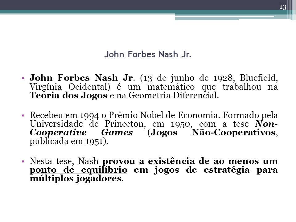 John Forbes Nash Jr. John Forbes Nash Jr. (13 de junho de 1928, Bluefield, Virgínia Ocidental) é um matemático que trabalhou na Teoria dos Jogos e na