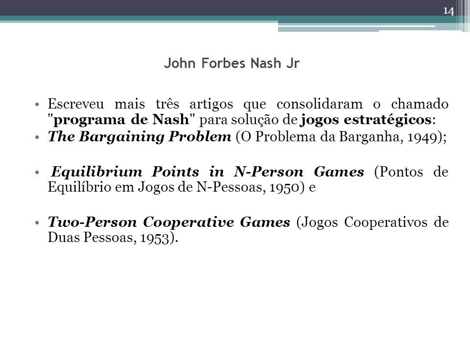 John Forbes Nash Jr Escreveu mais três artigos que consolidaram o chamado programa de Nash para solução de jogos estratégicos: The Bargaining Problem (O Problema da Barganha, 1949); Equilibrium Points in N-Person Games (Pontos de Equilíbrio em Jogos de N-Pessoas, 1950) e Two-Person Cooperative Games (Jogos Cooperativos de Duas Pessoas, 1953).